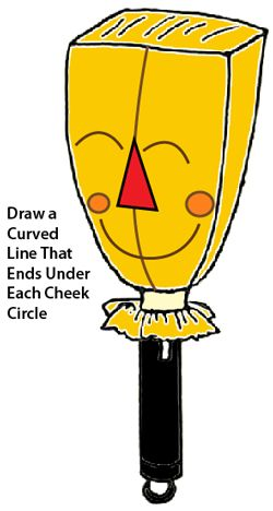 Draw curved line that ends under each cheek circle