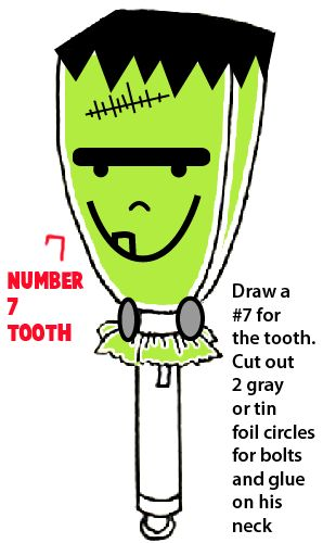Draw a number 7 for the tooth
