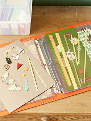 Use Binders & Sheet Protectors for organizing crafts