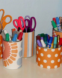 Use Soup Cans to organize your crafts