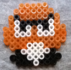 Finished Goomba made from Perler Beads