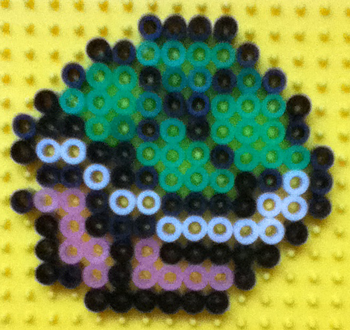 Finished Koopa Shell made from Perler Beads