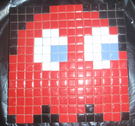 How to Make a Mosaic Red Ghost from Pacman Pixelated Picture from Tiles