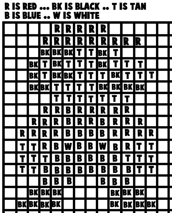 Here is a pattern for you to print or just look at while you are making your mosaic Mario.