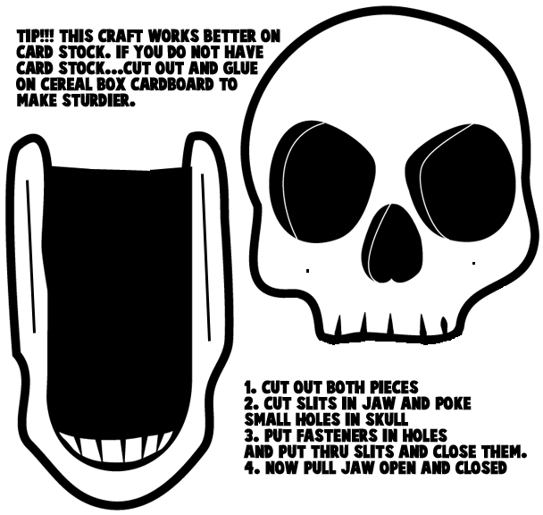 How to make opening and closing halloween skulls kids crafts printable template opening jaw skull maxwellsz