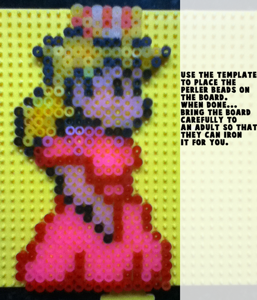 Use the template to help place the perler beads in the right spot