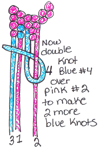 Now we will be knotting blue #4 over pink #2 to make 2 more blue knots.