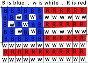 Printable color template for Flag keychain