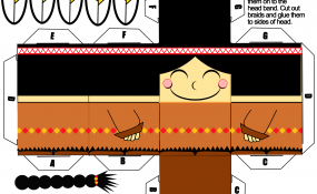 Printable template for Indian girl paper craft