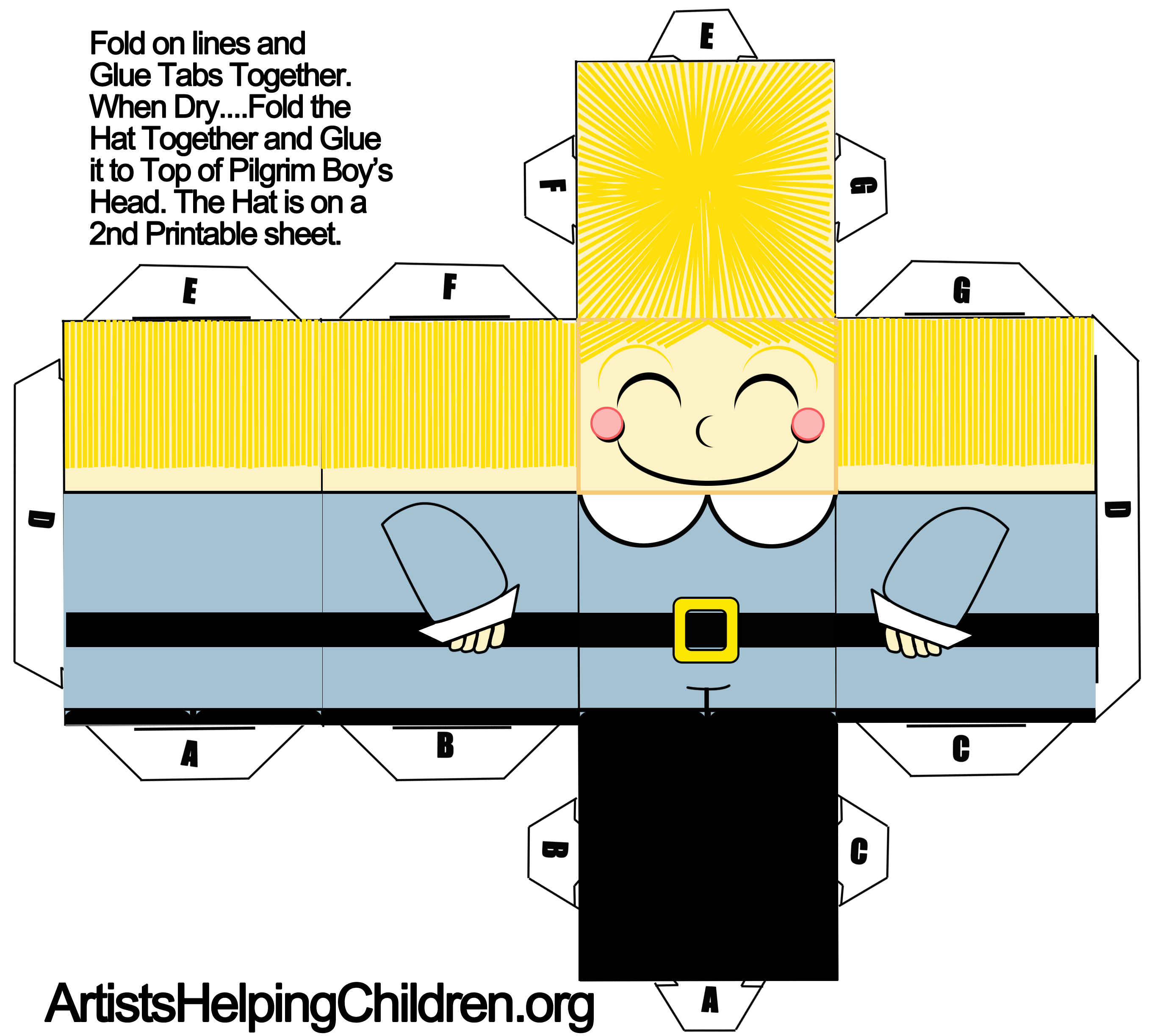 how to make a pilgrim boy out of paper with printable foldable