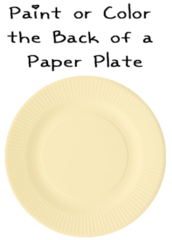 Paint or color the back of a paper plate.
