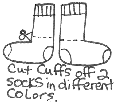 Cut cuffs off 2 socks in different colors.