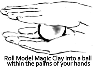 Roll Model Magic clay into a ball within the palms of your hand.