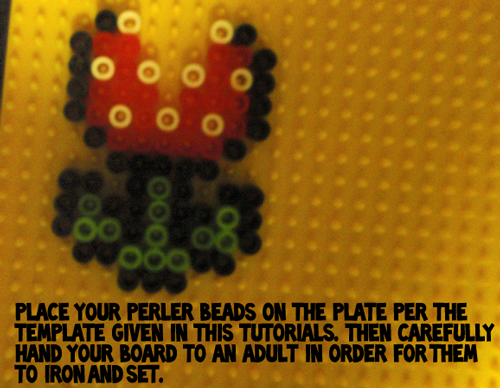 Place your perler beads on the plate per the template given in this tutorial.