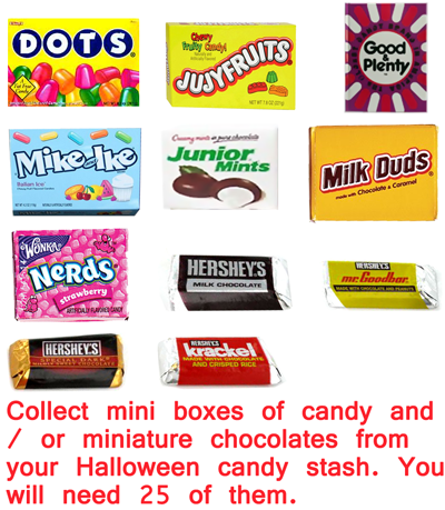 Collect mini boxes of candy / or miniature chocolates