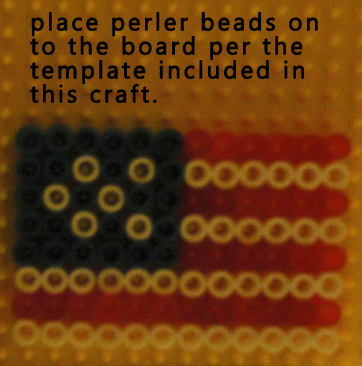 Place Perler Beads on to the board per the template included in this craft.