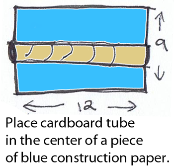 Place cardboard tube in the center of a piece of blue construction paper.