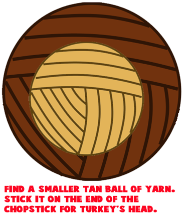 Find a smaller tan ball of yarn.