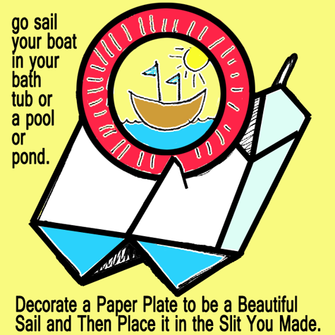 Decorate a paper plate to be a beautiful sail