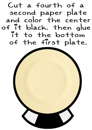 Cut a fourth of a second paper plate and color the center of it black.