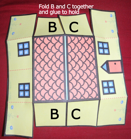 Fold B and C together and glue to hold.