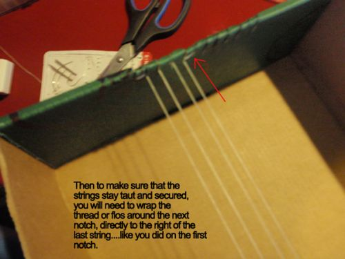 Then to make sure that the strings stay taut and secured, you will need to wrap the thread or floss around the next notch