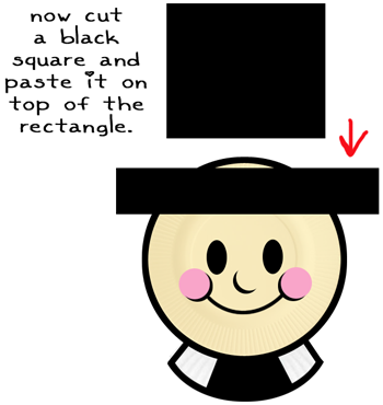 Now, cut a black square and paste it on the top of the rectangle.
