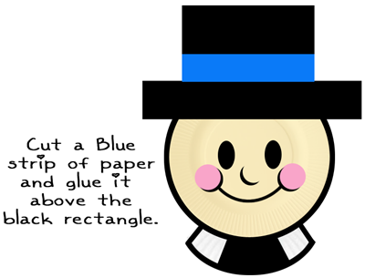 Cut a blue strip of paper and glue it above the black rectangle.