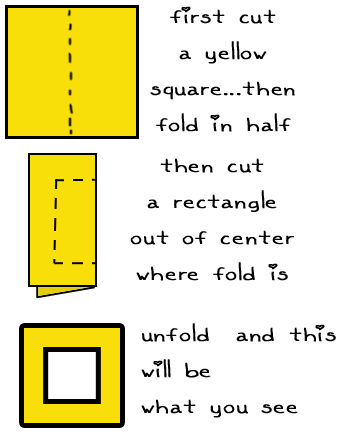 First, cut a yellow square... then fold in half.