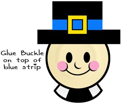 Glue buckle on top of blue strip.