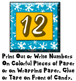 Print out or write numbers on colorful pieces of paper or on wrapping paper.