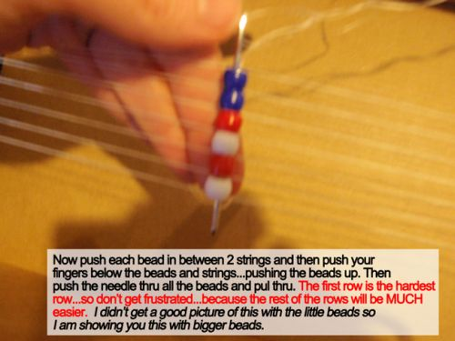 Now push each between in between 2 strings and then push your fingers below the beads and strings ... pushing the beads up.
