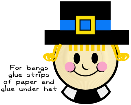 For bangs glue strips of paper and glue under hat.