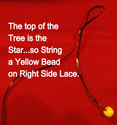 string a yellow bead on right side lace