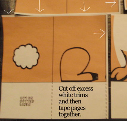 Cut off excess white trims and then tape pages together.