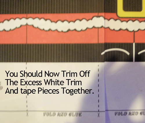 trim off the excess white trim and tape pieces together.