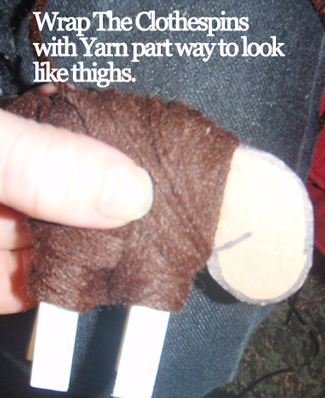 Wrap the clothespins with yarn part way to look like thighs.