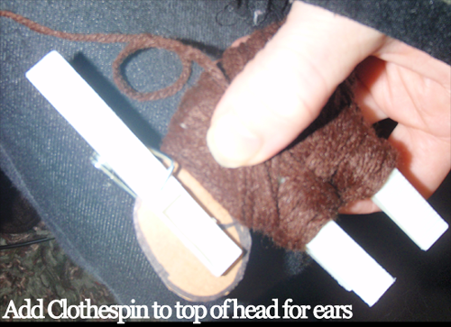 Add clothespin to top of head for ears.