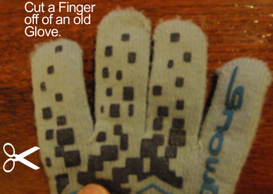 Cut a finger off of an old glove.