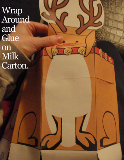 Wrap around and glue on milk carton.