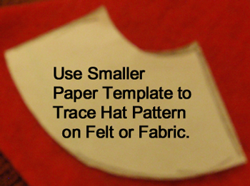 Use smaller paper template to trace hat pattern on felt or fabric.