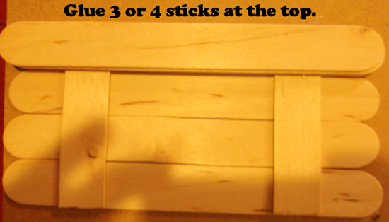 Glue 3 or 4 sticks at the top.