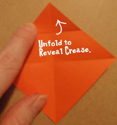 Unfold to reveal crease.
