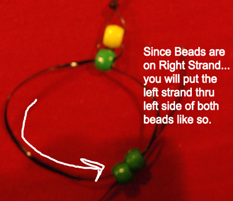 put the left strand thru left side of both beads
