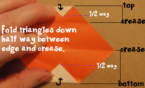 Fold triangles down half way between edge and crease.