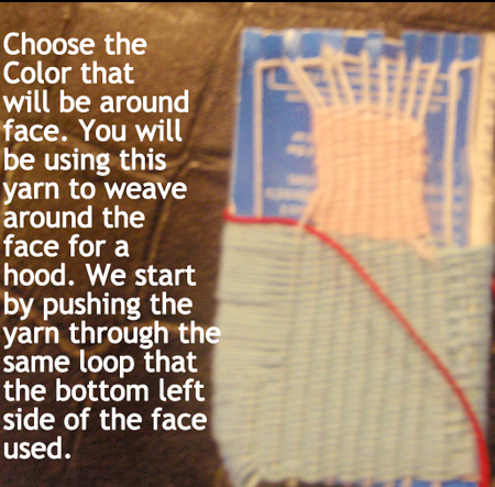 start by pushing the yarn through the same loop that the bottom left side of the face used