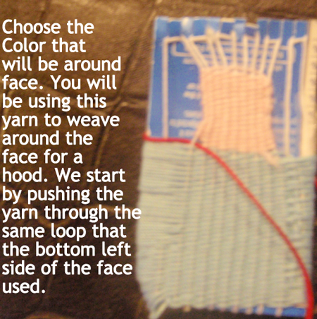 We start by pushing the yarn through the same loop that the bottom left side of the face used.