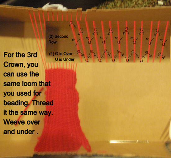 For the 3rd crown, you can use the same loom that you used for beading.  Thread it the same way.