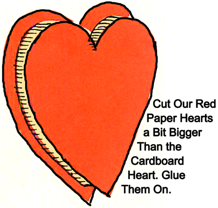 Cut our red paper hearts a bit bigger than the cardboard heart