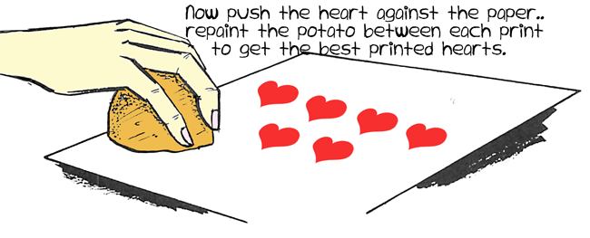 Now push the heart against the paper